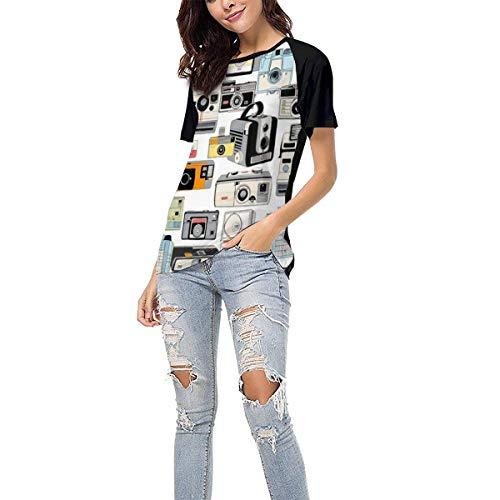 Women's Tshirts Make It Snappy! Vintage Camera Illustrations Baseball Short Sleeves Shirt Girl Sport Tee Tops Fashion Clothes XL Black