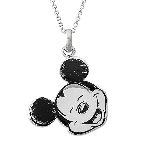 Disney ClassicMickey MouseSilver Plated Pendant Necklace, Mickey's 90th Birthday Anniversary;Jewelry for Women and Girls