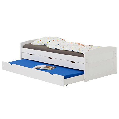 IDIMEX Kojenbett Jessy, Funktionsbett Stauraumbett Bett mit Stauraum Schubladenbett Jugendbett, 90 x 200 cm, Kiefer massiv, in weiß