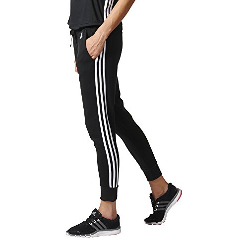adidas Damen Essentials 3 Streifen Tapered Hose, schwarz (Black/White), S