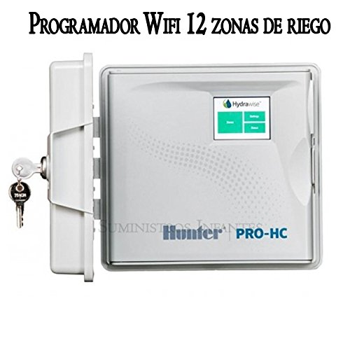 Programador WiFi eléctrico Hunter 12 Zonas Exterior. Programador de riego Hydrawise controlado vía WiFi Desde Cualquier Parte del Mundo Desde su móvil iPhone o Android, y Desde un Ordenador