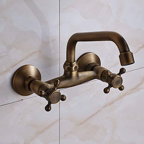 Grifo de lavabo de latón antiguo/bronce negro recientemente clásico Grifo del lavabo del baño Grifo de mezclador de caño cascada Montaje en pared, latón antiguo, Francia