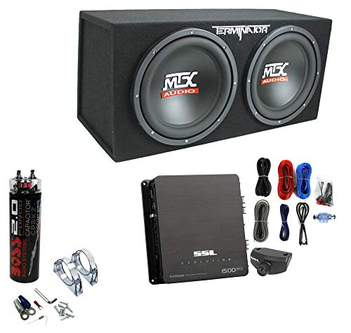 MTX TNE212D 12' 1200W Dual Loaded Subwoofer Box + 1500W Amp + Wiring + Capacitor