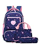 Bansusu 3Pcs Pretty Girls Elementary Bookbag Satchels for Primary Girls School Bag Backpack Set with Lunch Kits