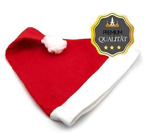 L+H 12x Weihnachsmütze Nikolausmütze rot mit Plüsch-Bommel |hochwertig, weich für Kinder und Erwachsene | Weihnachtsmann Santa Claus Xmas Mütze im Set | Weihnachten Nikolaus-Kostüm Weihnachtsmarkt