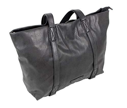 Edle Damen Handtasche Shopper Schultertasche mit 2 Henkeln Tragetasche Groß in 3 Farben (3448) (Schwarz)