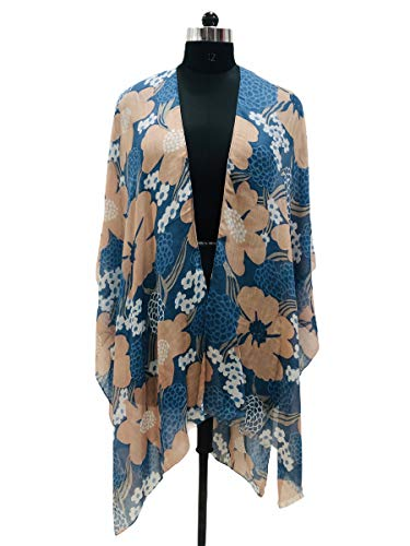 Elu ♥ Women's Beach Cover up Swimsuit Kimono Cardigan Casual Blouse Tops (Blue/Beige)