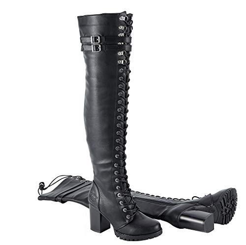 Milwaukee Riders Women Motorcycle Biker Knee High Laced Boots (8 M US) Black