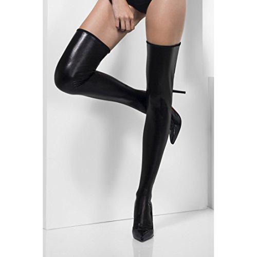 Amakando Sexy Halterlose Strümpfe Lack Overknees Leder- Optik, schwarz Gothic Strapse Damen Vamp Kniestrümpfe Hexen Strapsstrümpfe Halloween Kostüm Zubehör