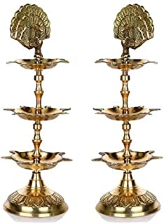 Hashcart Handmade Indian Brass PanchMahal Diya Lamp Engraved 3 in 1 Adjustable Dia (Set of 2)