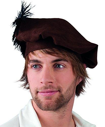 Boland 44028 - Mittelalterliche Baskenmütze für Erwachsene, Größe 59, Dunkelbraun, Accessoire, Kopfbedeckung, Motto Party, Karneval