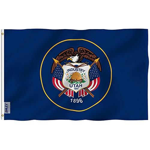 Anley Fly Breeze 3x5Pi Drapeau de l'Etat Utah-Couleur Vive Résiste aux UV-Entête en Toile/Double Couture-Drapeaux Utah UT en Polyester, œillet en Laiton 3X5Pi