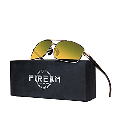 Mens Womens Classic Retro Polarized Sunglasses Metal Frame Day&Night 100% UV400 Protection Rectangular Driving Sun Glasses for Men&Women