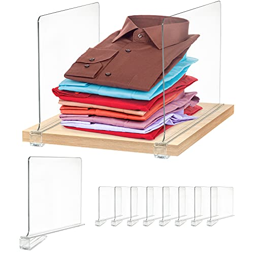 Maxlandsol Clear Shelf Divider - 8 Pack, Clear Acrylic Shelf Dividers for Wood Shelves, Bedroom and Kitchen Cabinet Shelf Storage Closet Dividers for Organizing Clothes and Purses