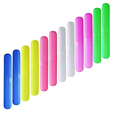 ISusser Pack of 12 Plastic Toothbrush Case, 6 Color Portable Dust-proof Toothbrushes Holder for Inside and Outside