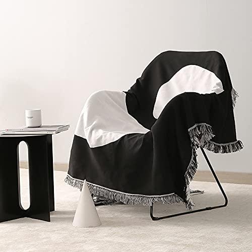 GYROHOME Funda para sofá, manta para sofá con borlas para silla, cama, sofá, adecuado para todas las estaciones (71 x 91 pulgadas), protector de muebles, lavable a máquina