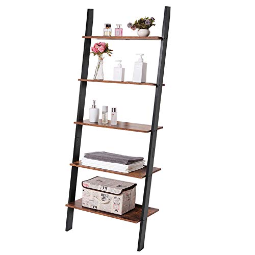 IWELL 5 Tier Ladder Bookshelf, Leaning Bookshelf, Wood Storage Rack Shelves, Leaning Against The Wall Flower Shelf, Plant Display Shelf for Living Room, Home Office, Hallway, Rustic Brown