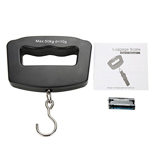 Zerone tragbare Digitalwaage, 50 kg/10 g Mini-Angelhaken-Waage, elektronisches Gepäck, hängendes Gewicht