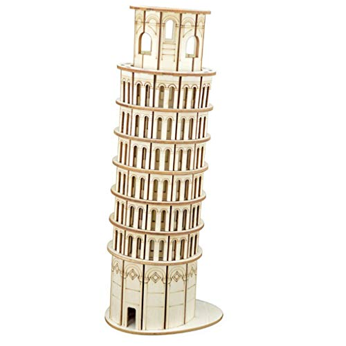 Sxmy The Leaning Tower of Pisa für 3D-Stereo-Puzzle aus Holz, 37 x 23,4 x 2,4 cm
