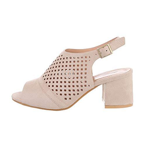 Ital-Design Damenschuhe Sandalen & Sandaletten High Heel Sandaletten, 369-42-, Kunstleder, Beige, Gr. 39