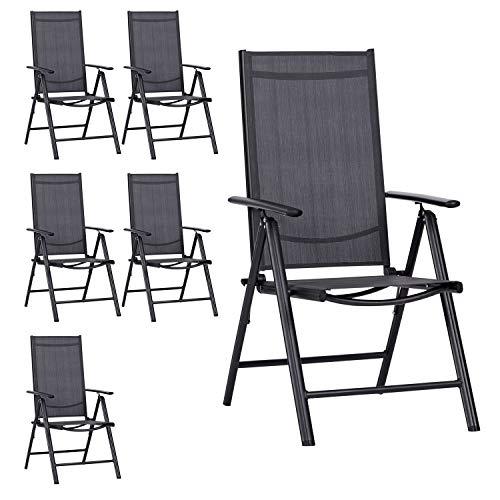 Outfit 6er Set Gartenstuhl, 2x2 Textilenbespannung Grau, Aluminiumgestell Schwarz, Lehne 7 Positionen verstellbar, klappbar