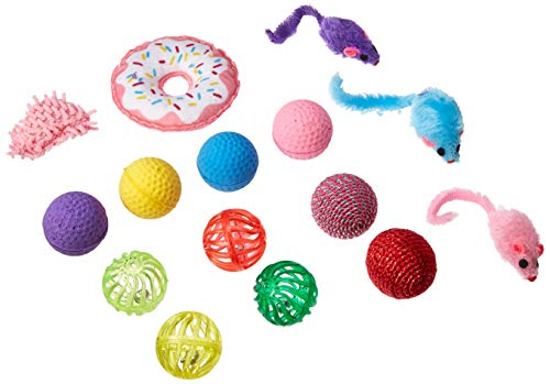 Pet Craft Supply Cat Toy Set - Multi Color cat accessories with Fun Donut Toys - cat supplies - kitty toys - cat plush toy pack - cat wand catnip mice value pack set of 15 toys