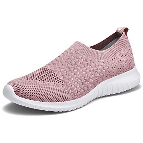 konhill Women's Walking Tennis Shoes - Lightweight Athletic Casual Gym Slip on Sneakers 6 US Mauve,37