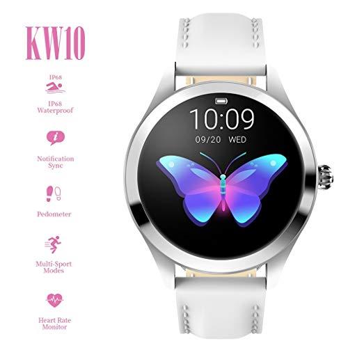 CUEYU Smart Watch KW10,Runder Touchscreen IP68 wasserdichte Smartwatch für Frauen, Fitness Tracker mit Herzfrequenz- und Schlaf-Pedometer,Armband Für IOS/Android (Weiß)