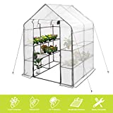 """Deluxe Green House 56"""" W x 56"""" D x 77"""" H,Walk in Outdoor Plant Gardening Greenhouse 2 Tiers 8 Shelves - Anchors Include(White)"""