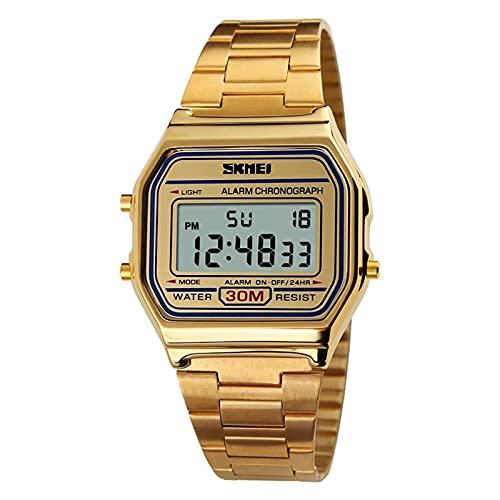 JTTM Reloj Digital para Hombre con Correa De Acero Inoxidable Y Fecha, Color Negro, Oro O Oro Rosa, Reloj Digital para Hombre,Oro