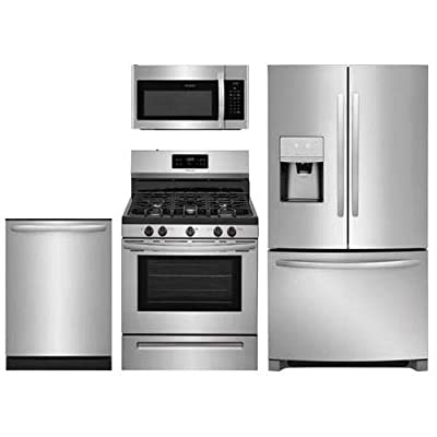 "Frigidaire 4-Piece Stainless Steel Kitchen Package With FFHB2750TS 36"" French Door Refrigerator FFGF3054TS 30"" Freestanding Gas Range FFMV1645TS 30"" Over-the-Range Microwave and FFID2426TS 24"" Fully Integrated Dishwasher"