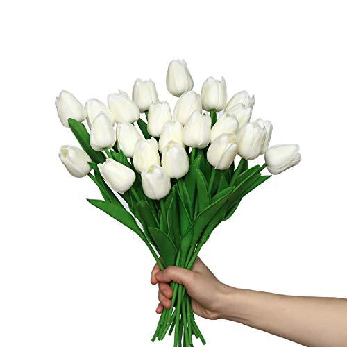 Anaoo 24pcs Flores de Tulipanes Artificiales de Látex, Floras Falsas Pero de Tacto Real Decoración para Banquete de Boda, Hogar, Fiestas, Jardín, Partido del Hotel, Blanco