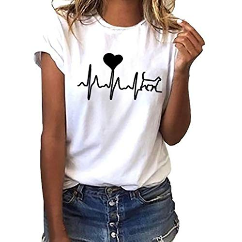 iHENGH Damen Top Bluse Lässig Mode T-Shirt Frühling Sommer Bequem Blusen Frauen Women Girls Plus Size Print Tees Shirt Short Sleeve T-Shirt Blouse Tops (Weiß, S)