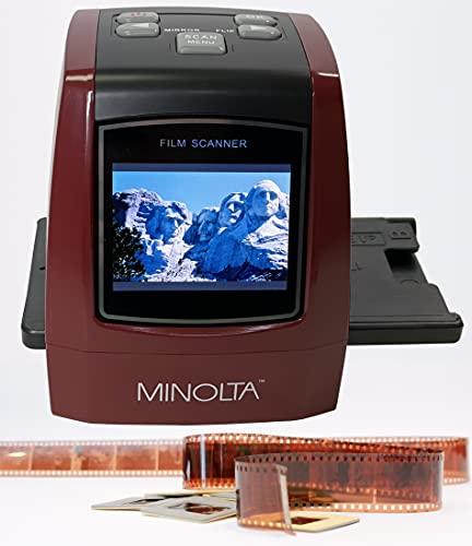 MINOLTA Film & Slide Scanner, Convert Color & B&W 35mm, 126, 110 Negative & Slides, Super 8 Films to High Resolution 22MP JPEG Digital Photos, Worldwide 110V/240V AC Adapter (Red)