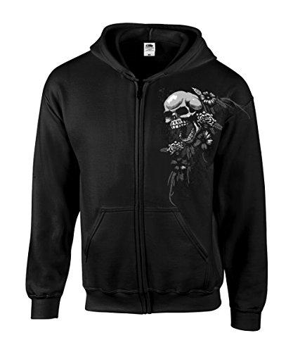 Stoned Washed Shirtz Zipper - Skulls & Flowers - Zipjacket, Kapuzenjacke, Totenkopf, Schwarz (L)