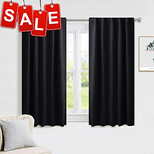 PONY DANCE Nursery Blackout Curtains - Thermal Insulated Panels Set Window Back Tab/Rod Pocket Light Blocking Curtain Drapes for Bedroom, 42-inch Wide by 54-inch Long, Black, Two Pieces