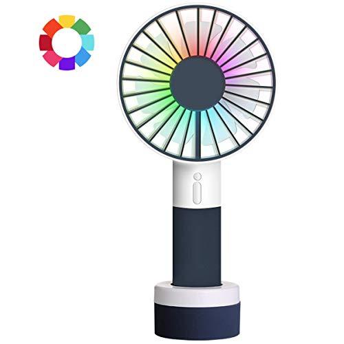 Mini ventilador de mano pequeño con luz de color, portátil recargable con USB, ventilador de mesa con base de pie, 3 velocidades, ideal para viajes al aire libre y acampada (blanco + negro)