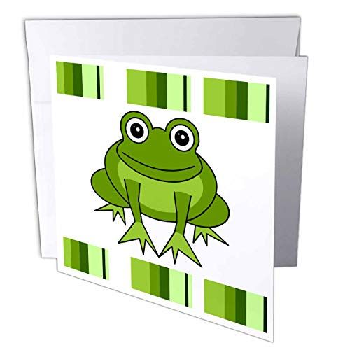 3dRose Cute Happy Green Frog with Stripes - Greeting Cards, 6 x 6 inches, set of 12 (gc_6104_2)