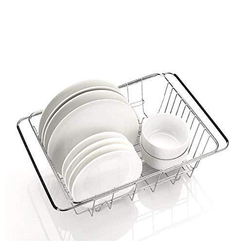 KANJJ-YU Multifuncional sobre el Fregadero de la Cesta del lavamanos del Fregadero del Fregadero de Acero Inoxidable Drenador de Plato (Color: Plata) Cocina