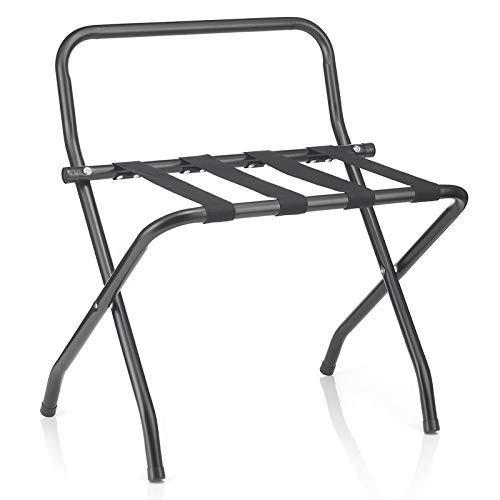 CARO-Möbel Kofferständer Suite mit Wandschutz Kofferbock Kofferablage, Metall schwarz lackiert, klappbar