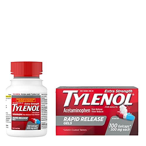 Tylenol Extra Strength Acetaminophen Rapid Release Gels, Pain Reliever & Fever Reducer, 100 ct