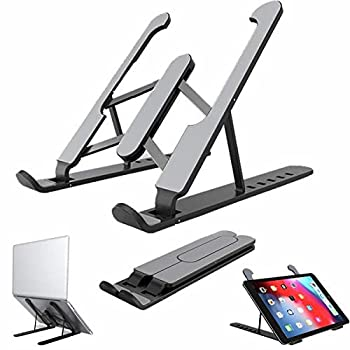 Adjustable Portable Laptop Stand,ABS ErgonomicLaptop Holder,Great Ventilation for MacBook,Air,Pro and Book,Light and Sturdy Riser,Eye Level to Alleviate Back and Neck Pain  P1-Black Laptop Stand ABS