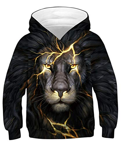 Rave on Friday Teen Jungs Lightning Lion Hoodie Neuheit Kapuzenpullover Cool 3D Druck Sweatshirt Feuer Pattern Pullover 145 Jumper Langarm für Kinder M