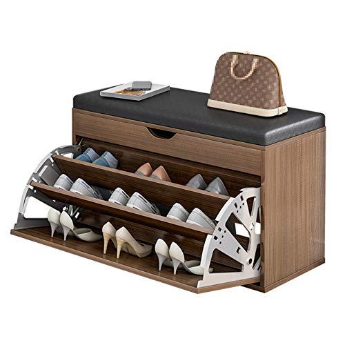 NEHARO Zapatero Organizador de Zapatos, Estilo Confort con cojín para Sala de Estar de 3 Niveles Banco de Zapatos, Estante de Almacenamiento de Entrada para la Sala de Estar del Pasillo