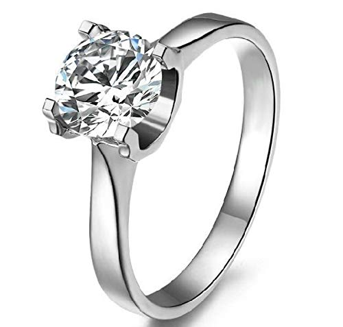 rackerose Real Moissanite 2CT Micro Paved Mount 14K Solid White Gold Jewelry Engagement Ring Lab Synthetic Diamond Moissanite Wedding Ring(Multi-Color,8)