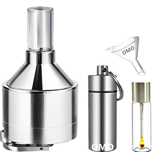 """OMO Spice Tools [Ultrafine grinding] Powder Spice Hand shake Grinder[Upgraded Version][Large 4 layer 2.2""""] Funnel and 2 Bottle with spoon"""