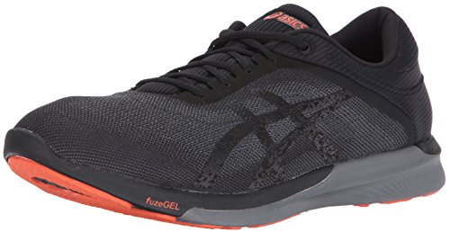 ASICS Men's fuzeX Rush Running Shoe, Black/Carbon/Cherry Tomato, 6.5 Medium US