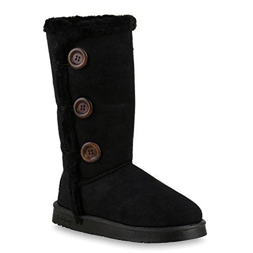Warm Gefütterte Boots Schlupfstiefel Schleifen Pailletten Kunstfell Stiefel Booties Winterstiefel Schuhe 128641 Schwarz Knöpfe 36 Flandell