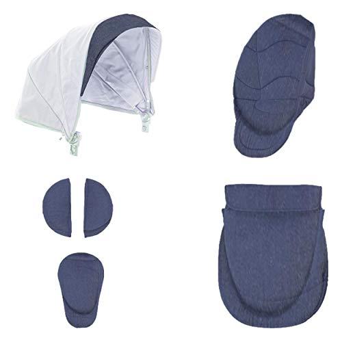 Chicco 05079169090000 Urban Color Pack - Set de accesorios: capota + cubrepiernas + kit confort, Gris (Denim)