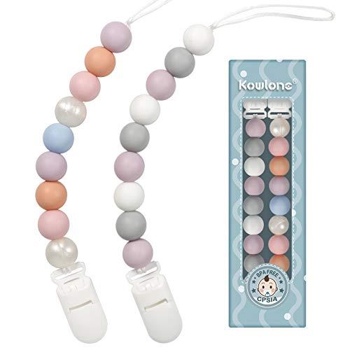 Schnullerkette mädchen Silikon Beißring Dummy Clips Schnuller Halter Perlen für Babyparty-Geschenk
